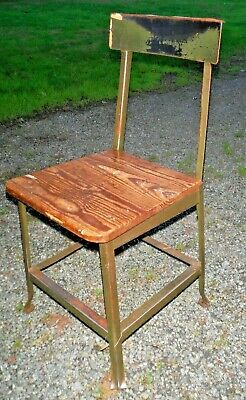 Vintage Industrial Drafting Factory Stool Chair Metal Wood Seat