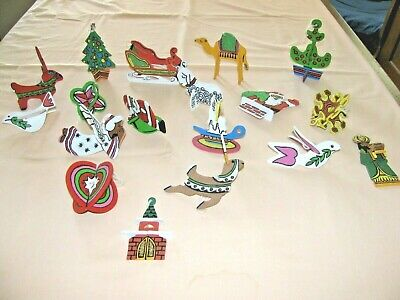 18 Vintage Wooden Hand Painted Two Sided Christmas Tree Ornaments 3D & flat