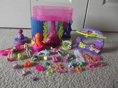 Vintage Polly Pocket Mermaid Stars Water Wonderland &  Octo-Go-Round Set LOT 36