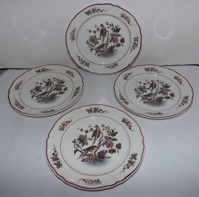 "(Set of 4) Villeroy & Boch Red ""Phonix"" PHOENIX 7 1/2"" SALAD PLATES (Germany)"