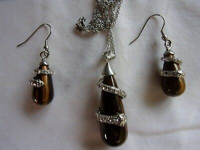 """Ladies""""Tigers Eye """" Necklace And Earring Set-20 Inch Stainless Chain-Snake Motif"""