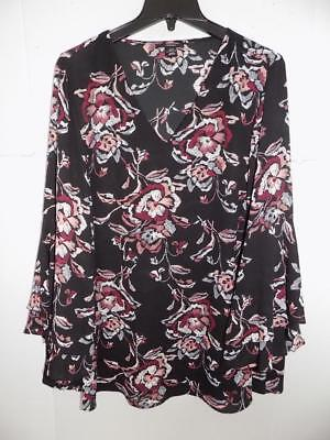 88116615b7ceaa WTC6855 Alfani Women s Plus Printed Floral Bell Sleeve Top NWT Size 20W  MSRP  75