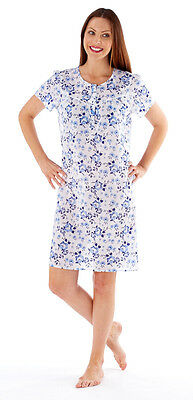 Ladies Short Sleeved Lightweight Poly/Cotton Floral Nightdress Pink Navy 10 - 24