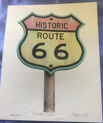Wall Art Picture Of Historic Route 66 Text Sign, Unframed, Signed By C Martin