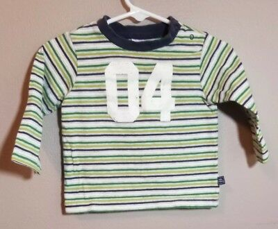 Old Navy Infant Boys Long Sleeve Green Striped T-Shirt Size 6-12 Months