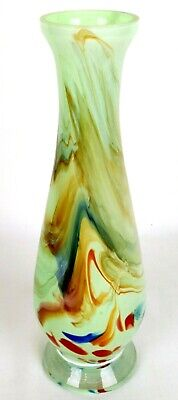 Vintage Spatter Glass Bud Vase Multi Color Swirl Blown Art Glass Mid Century 10""