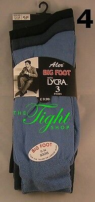 3 Pairs Cotton/Lycra Ankle Socks 11-14 Mens BIG FOOT Colour Selection (G-6687)