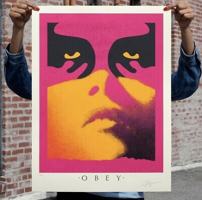 Shepard Fairey Obey Giant Shadowplay Orange Art Print Poster Signed Numbered 350