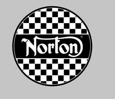 Norton Motorcycle 100mm decal Sticker Badge tank Fairing checkered flag