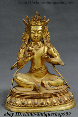 Old China Tibetan Buddhism Temple Purple Bronze Gilt Buddhas Boddhisattva Statue