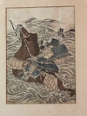 """Antique Japanese Woodblock Framed """"as found"""""""