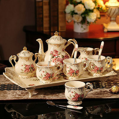 8 Pcs Rose Pattern Porcelain Tea Coffee Set Teapot Sugar Bowl Creamer Cups Tray