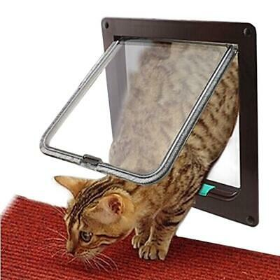 4 Way Lockable Dog Cat Security Flap Door Kitten Puppy Pets Plastic Gate Door Pe