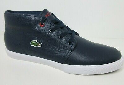 cfac2be17166 Lacoste Men s Blue White Asparta 318 Leather Mid-Top Fashion Sneaker Shoes  Sz 10