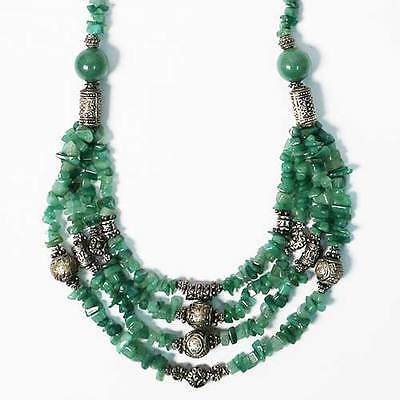Awesome Tibetan Multi Strand Aventurine Bead Silver Necklace