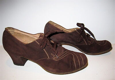"Authentic Antique Vtg 1930's-1940's Women's Sz 5½-A Suede Laceup Shoes, 2"" Heels"