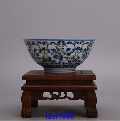 China antique Qing Dynasty Blue and white Flowers and plants bowl