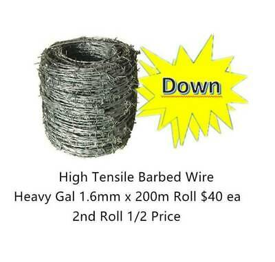 1.6mm barbed wire length 200m  2nd Rolls 1/2 PRICE ON SALES!!!