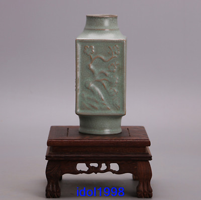 China antique Song dynasty Green glaze Mei orchid zhu ju Cong style bottle