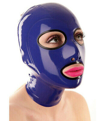 Realistic Latex Rubber Unisex Mask Blue Hood Gummi 0.4mm for Body suits Handmade