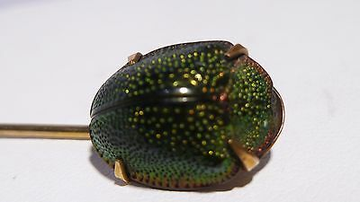 Egyptian Scarab Beetle 10k Solid Gold Victorian Stick Pin Brooch Antique Love
