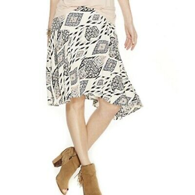 54ae09df2 Vince Camuto Womens Asymmetrical Skirt Size 14 Ivory Aztec Print Pleated  Lined