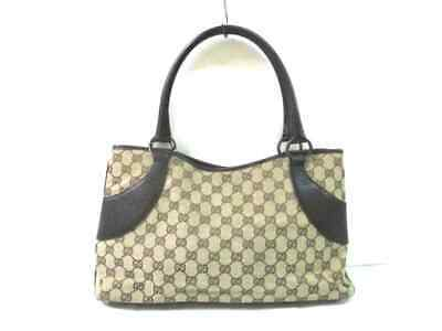 f424666735c AUTH GUCCI DIAMANTE Sukey 211943 Beige DarkBrown Black Jacquard ...