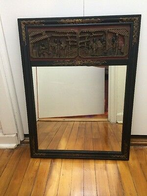 Amazing! Antique Chinese Hand Carving Panel with Black Laquer Frame Wall Mirror