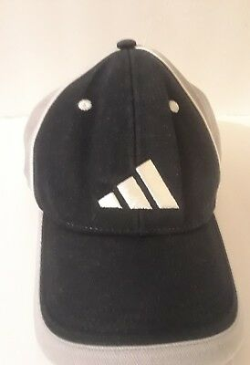 0def365b adidas Baseball Cap Vintage Dad Hat Black Gray 3 Stripe Logo Men Adjustable