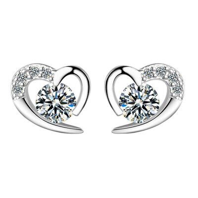 1CT Round Cut Diamond Solid 10k White Gold Heart Shape Stud Earrings For Women's