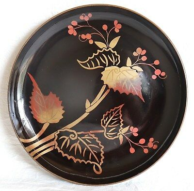 Japanese Vintage Lacquer Ware Plate Wood Leaf  Tea Ceremony