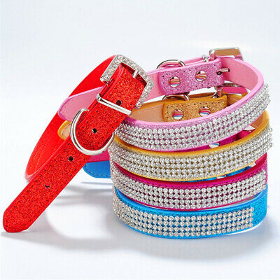 Bling Crystal Dog Collar Fancy Small Pet Collar Dog Cat Leather Necklace Adjust