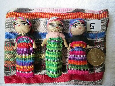 3 Large GUATEMALAN WORRY DOLLS  5.5 - 6cm high. no 5 THESE EXACT ONES Free Bag