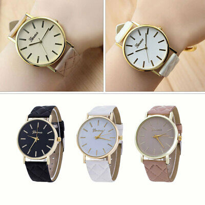 Geneva Women Ladies Large Face Stainless Steel Wrist Watch Leather Strap Watches