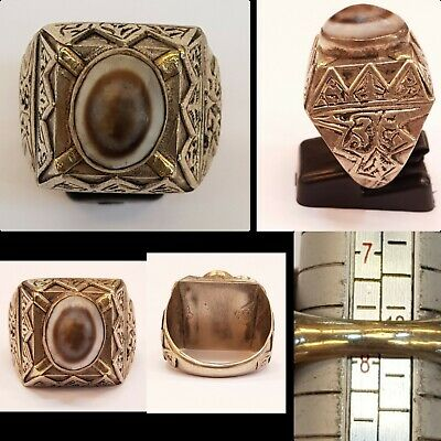 Beautiful Old Sulimani Eye Banded Agate With Antique Silver Beautiful Ring  # F5