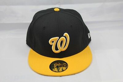 best authentic a91f0 72da3 New Era 59Fifty Fitted Hat cap. Mlb. Washington Nationals. Black And Yellow