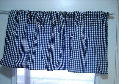 "Valance 16""x43"" Black White Check Window Farmhouse Curtain Country Rustic Lodge"