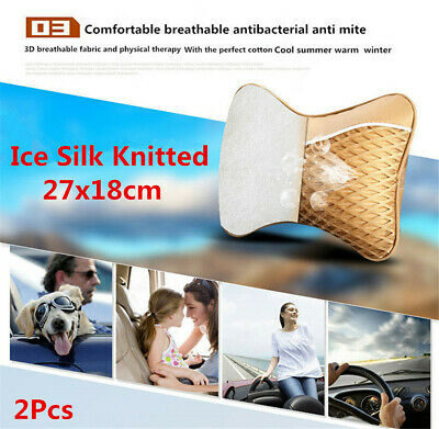 27x18cm Breathable Ice Silk Car Travel Head Neck Rest Support Cushion Pillows