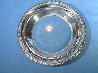 "Vintage Frank Whiting 6-5/8"" Reticulated Sterling & Etched Glass Bottle Coaster"