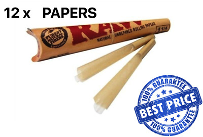 12X RAW Pre-Rolled Classic Hemp Papers Cones  | Tobacco Smoking Organic Natural