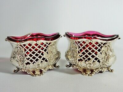 Pair of Antique 1901 Sterling Silver Ruby Cranberry Glass Salt Dish Pot Cellar