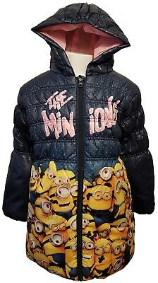 Girls Official Minions/Despicable Me Navy The Minions Hooded Coat Age 3,4 and 6