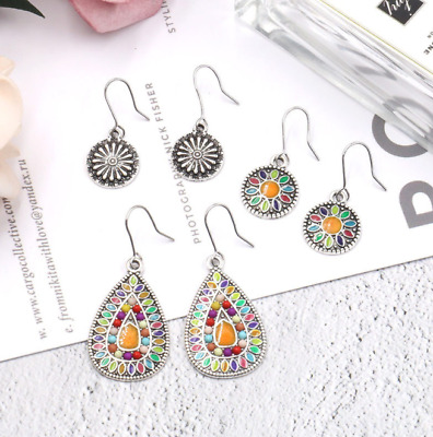 3Pairs/Set Women Bohemian Boho Colorful Resin Bead Sun Flower Alloy Earrings