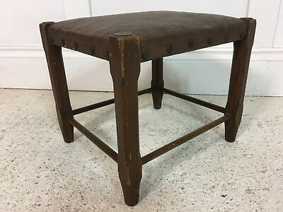 Antique Primitive Edwardian 1910/20s Original Pine Brown Rexine Horsehair Stool