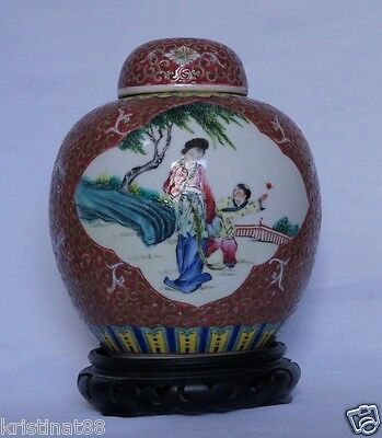 Antique Chinese Porcelain Jar in Rosewood Stand, Seal Mark to bace