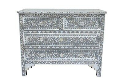 Mother of Pearl Inlay Floral Design Chest of 4 Drawers Gray