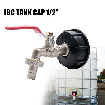 "IBC Tank Adapter S60X6 Brass Garden Tap With 1/2"" Hose Fitting Oil Fuel Water"