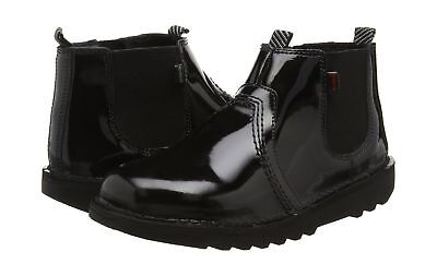 5bc77a0a KICKERS KICK HI Youth Leather Ankle Boots in Patent Black & Cream ...
