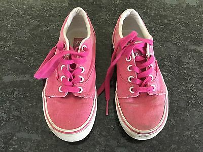 Vans Girls Pink Canvas Lace Up Shoes Size 1. Good Condition.