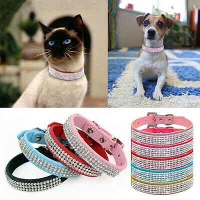 Dog Cat Crystal Dog Collars Fancy Small Bling Dog Collar Necklace Pet Supplies